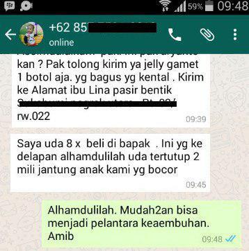 Testimoni QnC Jelly Gamat Jantung Bocor